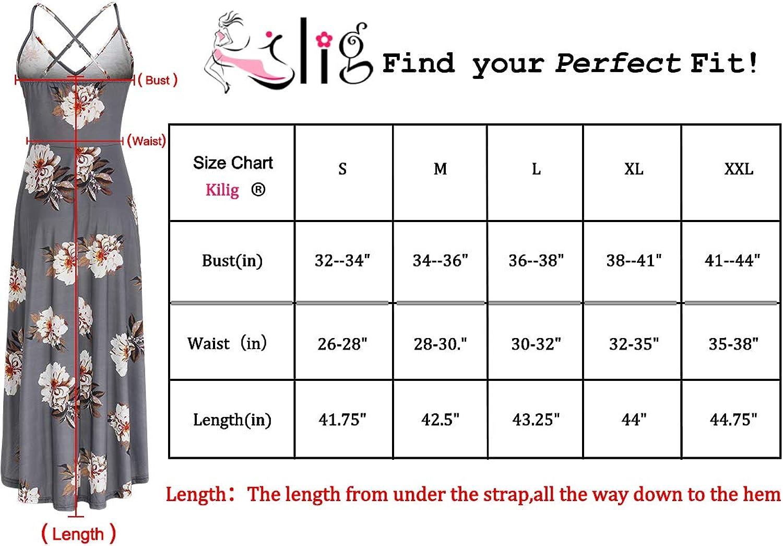 KILIG Womens V Neck Sleeveless Casual Summer Sundresses Asymmetrical Patchwork Floral Maxi Dresses