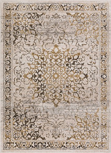 Antique Rectangle Rug Gold (Well Woven AM-61-4 Amba Sultana Traditional Distressed Oriental Gold Area Rug 3'11