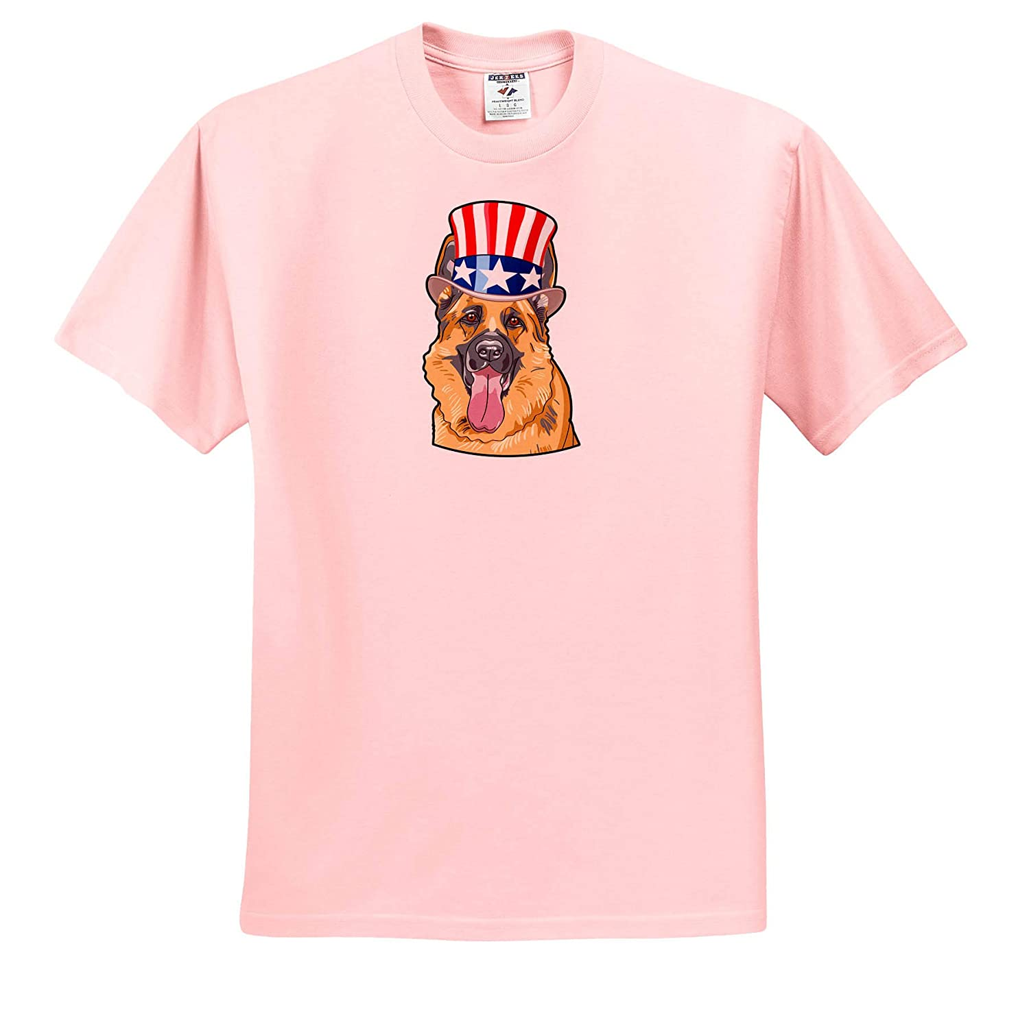 Pug Wearing top hat with American Flag on it T-Shirts 3dRose Patriotic American Dogs