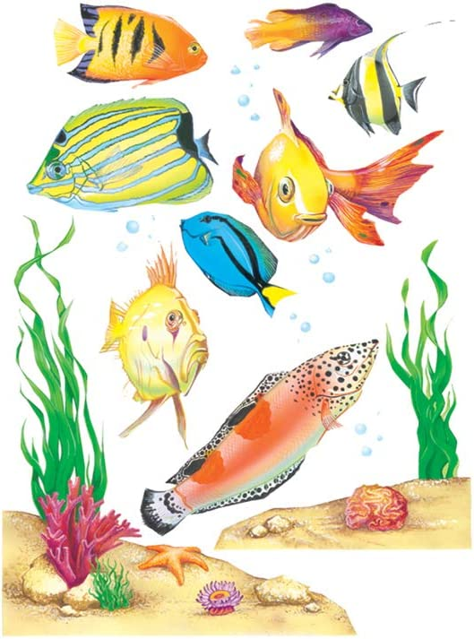 Eureka Classroom Decorations Window Clings, Fish Wall Decals, 14 Pc