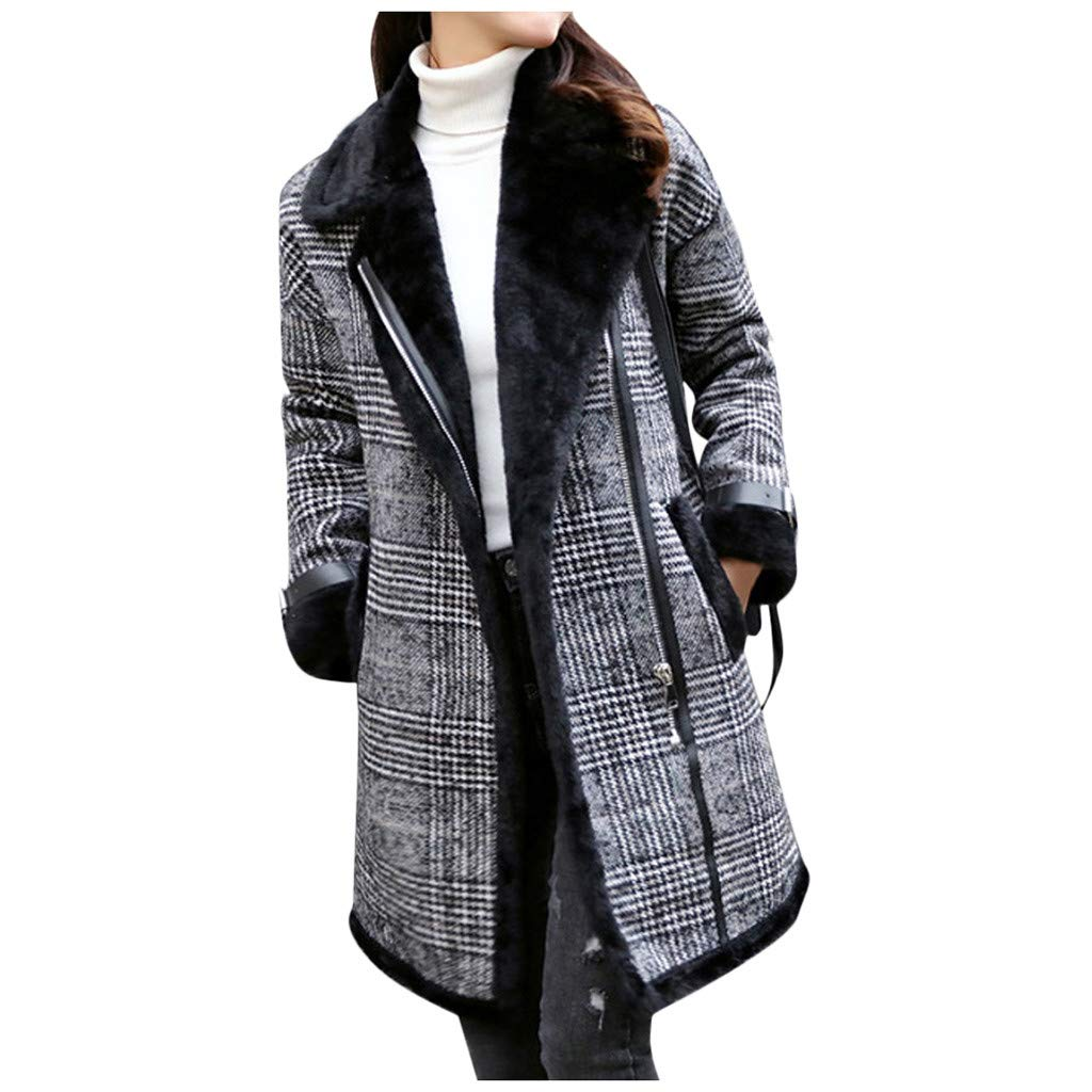 Excursion Clothing Women Winter Warm Trench Long Coat Outwear Elegant Lapel Plaid Zipper Jacket Pockets Overcoat Plus Size by Excursion Clothing