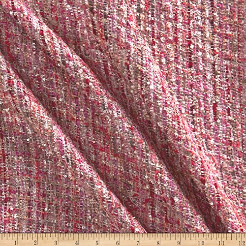 TELIO Charlotte Tweed Metallic Coral Pink Fabric By The Yard