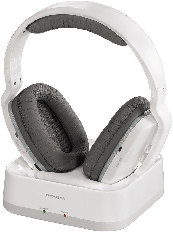 Thomson WHP3311W - Auriculares inalámbricos UHF (sistema PLL, alcance 100 m, jack 3.5 mm, 107 dB) blanco: Amazon.es: Electrónica