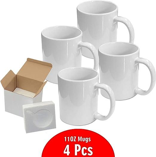 Tazas de sublimación de 325 ml con caja de regalo Tazas – Caja de cartón con soportes de espuma Caja de 4: Amazon.es: Hogar