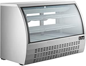 "New 65"" Xiltek Commercial All Stainless Steel Curved Glass Refrigerated Deli Case Display Case With LED Lighting And Casters"
