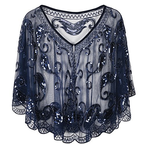 PrettyGuide Women's Evening Cape 1920s Vintage Cocktail Flapper Beaded Shawl Navy
