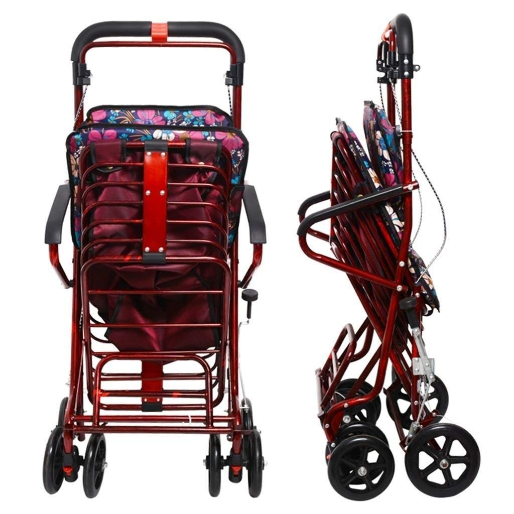 Rollator Walker Petite,with Fold Up Removable Back Support with Seat and Lower Basket Lockable Brake Auxiliary Walking Safety Walker (Color : Red) by YL WALKER (Image #5)