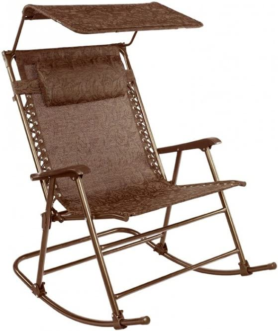 Bliss Hammocks GFR-091JR Outdoor Rocking Chair with Canopy, Jacquard
