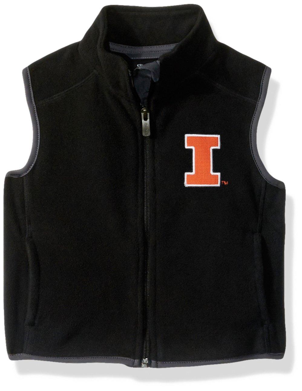 NCAA by Outerstuff NCAA Illinois Illini Kids & Youth Boys ''Scrimmage'' Polar Fleece Vest, Black, Kids Medium(5-6) by Outerstuff