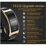 CK11S Smart Band Blood Pressure Heart Rate Monitor Wrist Watch Intelligent Bracelet Fitness Bracelet Tracker Pedometer Wristband (Gold)
