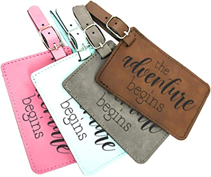 Honey Bees Leather Luggage Tags Personalized Extra Address Cards With Adjustable Strap