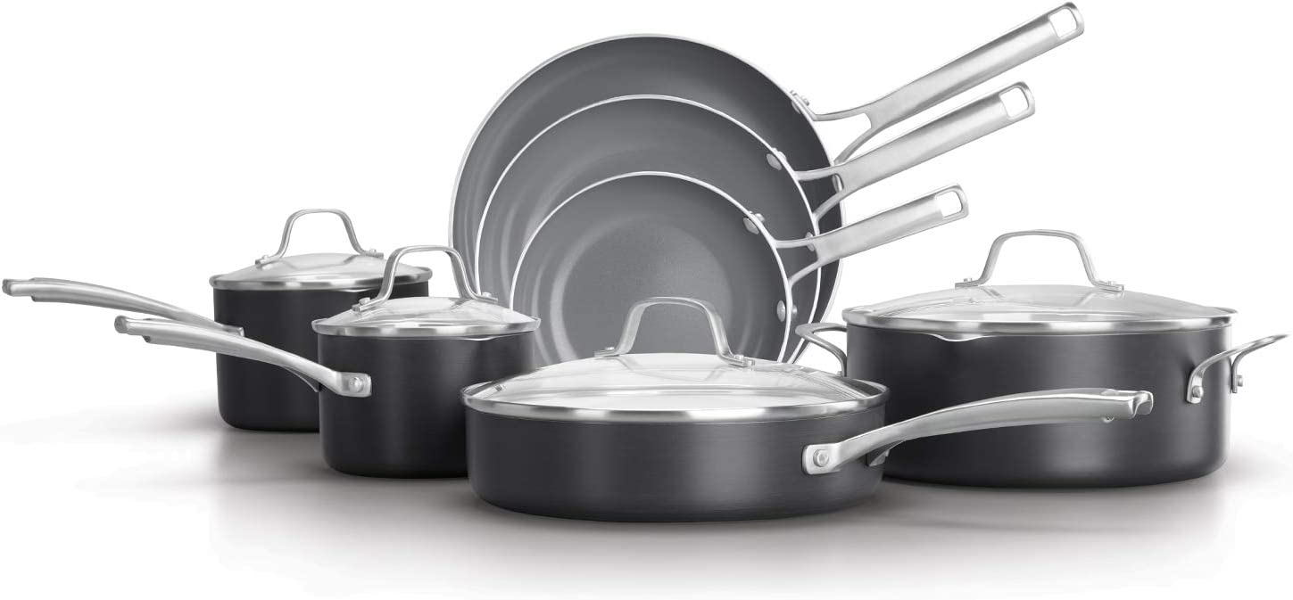 Calphalon Classic Oil-Infused Ceramic PTFE and PFOA Free Cookware, 11-Piece Pots and Pans Set, Dark Gray