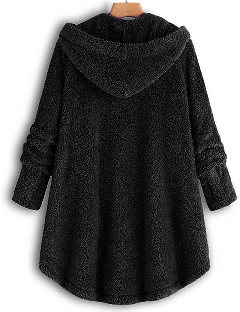 Wolfleague Manteau Fausse Fourrure Femme Manteau /à Capuche Manches Longues Jacket Peluche Blouson Ample Outwear Chic D/éContract/é De lhiver Chaude Et Mode Veste