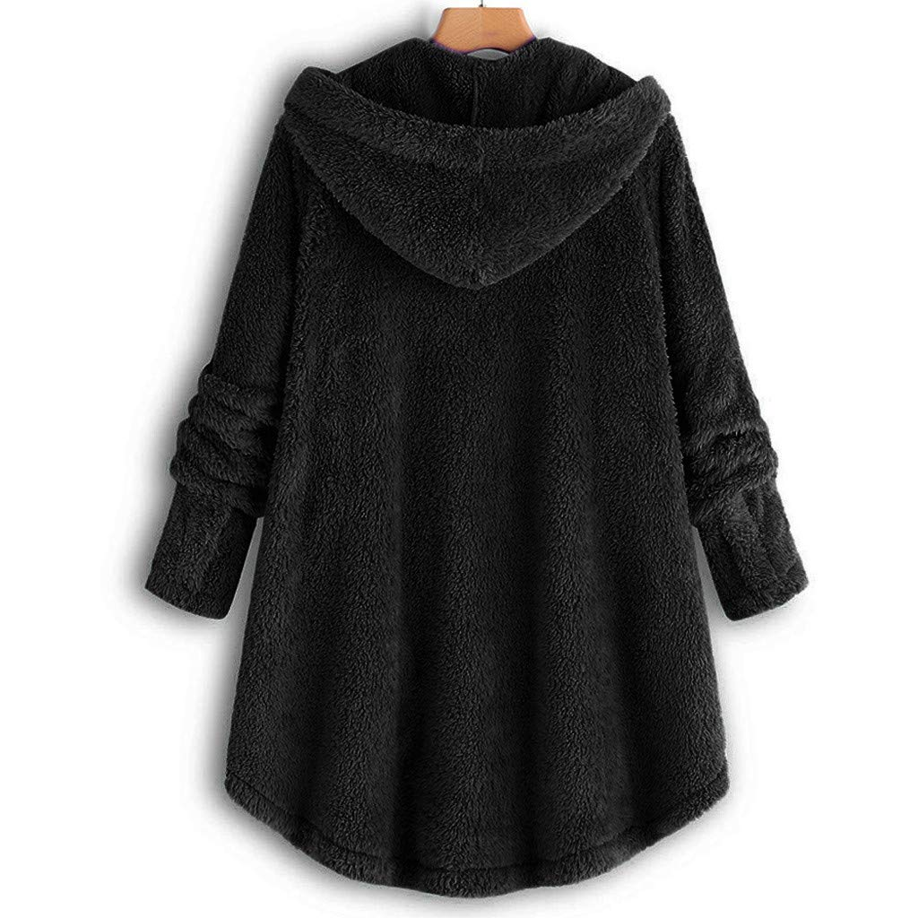 1ab185d1 Amazon.com: Clearance Sale Fluffy Fleece Winter Coat Plus Size,Women Warm  Button Parka Hooded Pullover Sweater: Clothing