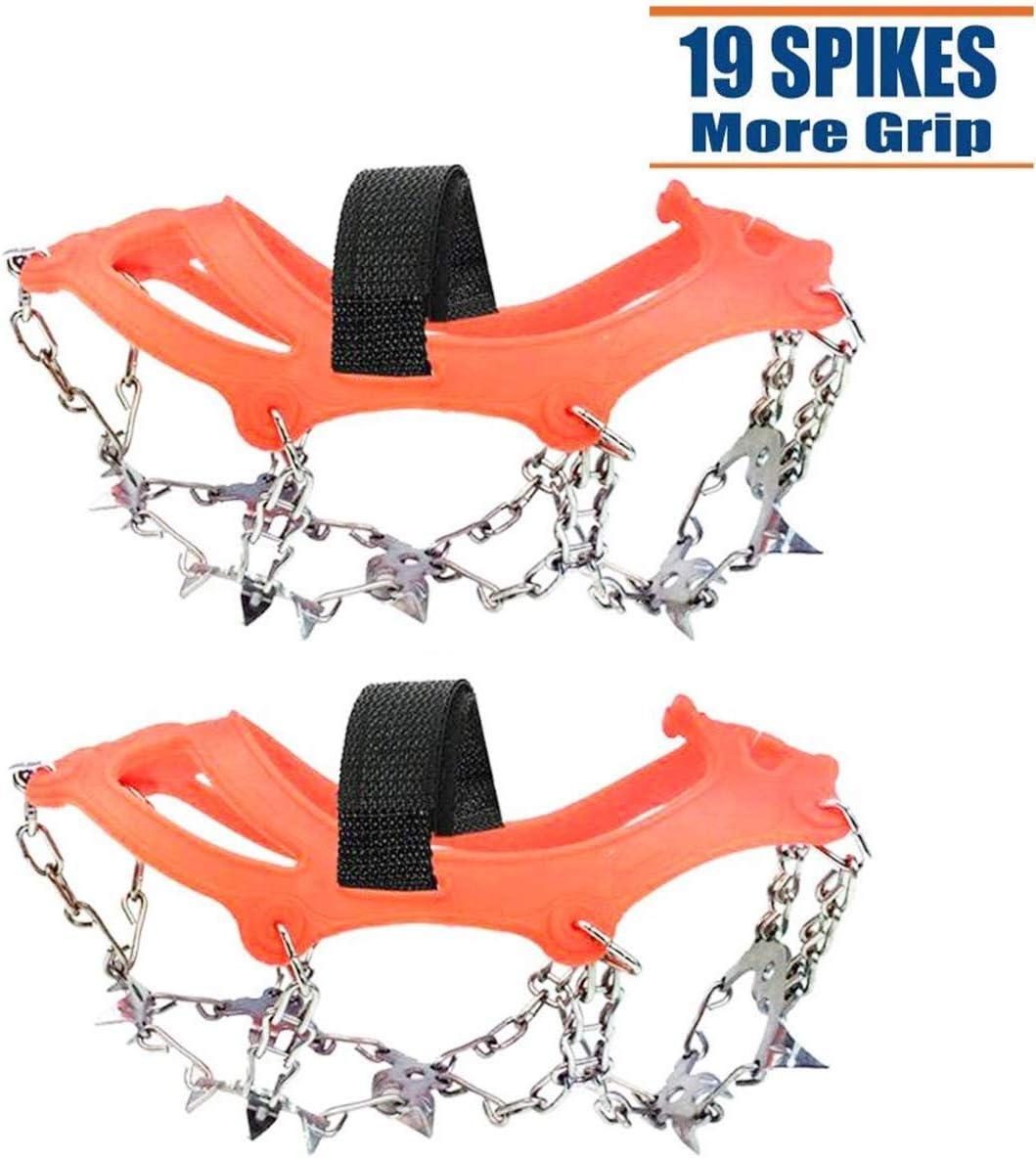 Viene Fornito con 6 moschettone Hook Ice Tacchetti Trazione Antiscivolo su Scarpe//Stivali 10 Borchie Neve Ghiaccio Ramponi Tacchetti Spikes
