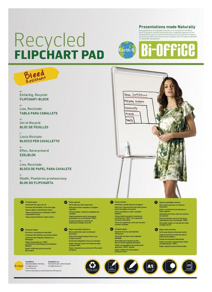 Bi-Office Earth - Blocco di Carta Riciclata Per Portablocco, A1 Forato con 2 Fori Standard, 40 Fogli Per Lavagna da 55 g/mq, Conf. da 5 Bi-Silque FL0111801