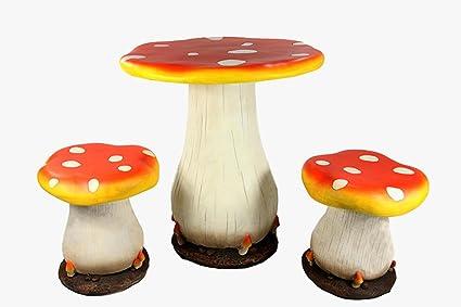 Amazon.com : 3-Piece Mushroom Table and Chair Novelty Garden Patio ...