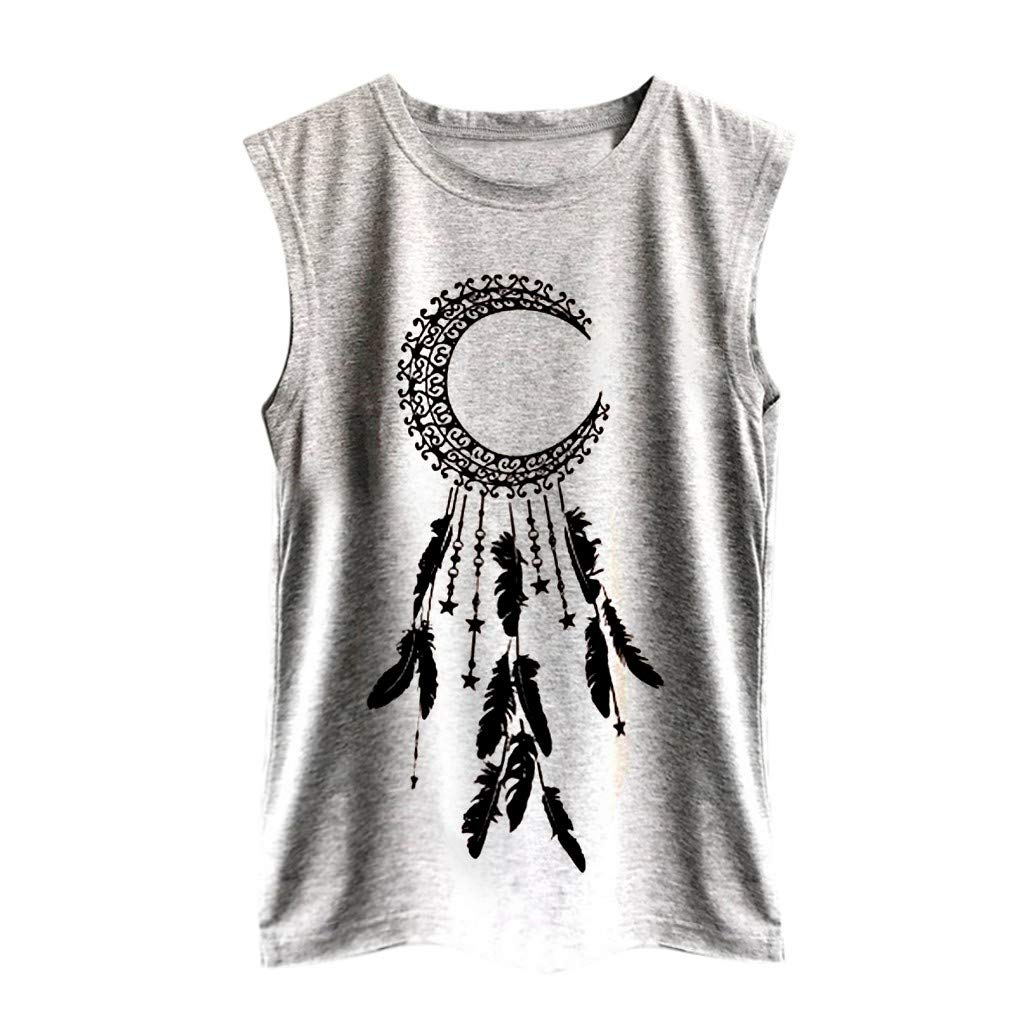 Women's Tank Sport Sleeveless Vest Top Moon Print Casual Camisoles Summer Loose T Shirt Pullover Crop Tops Camis Blouse