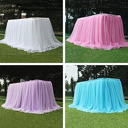 Kicode Nappe de bricolage Fil Tulle Jupe de table Anniversaire de mariage Party Desk D/écor