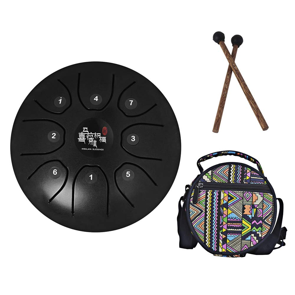 Mowind Steel Tongue Drum Tank Drum C Key 8 Notes 5.5 Inch Percussion Instrument with Drum Mallets Carry Bag Black by Mowind