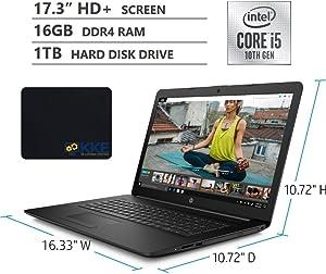 "2020 Newest HP 17.3"" HD+ Screen Laptop, 10th Gen Intel Core i5-1035G1 Quad-Core Processor up to 3.60GHz, DVD, HDMI, Wi-Fi, Windows 10 Home, Jet Black, KKE Mousepad (16GB RAM   1TB HDD)"