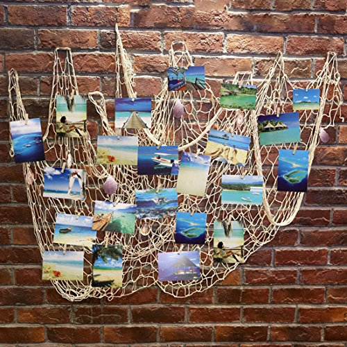 Photo Hanging Display Frames,Ecjiuyi 79 x 40inch Mediterranean Fishing Net Wall Decorations with 30 Clips,Picture Cards Collage Artworks (Beach Themed Room Decor)