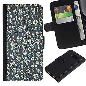 All Phone Most Case / Oferta Especial Cáscara Funda de cuero Monedero Cubierta de proteccion Caso / Wallet Case for Samsung Galaxy S6 // Vintage Daisy Wallpaper Spring