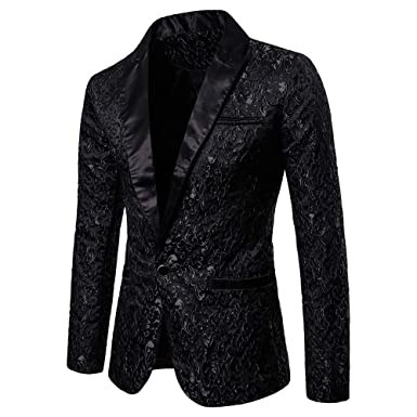 916b2457210 HLHN Men Suit Jacket Blazer Jacquard Coat Slim Fit Winter Formal Outwear  Casual Long Sleeve Collar