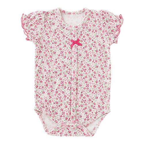 (척(Chuck)《루》) chuckle * 스위트 걸 * 작은 꽃무늬 반소매 앞 열림 롬퍼스(rompers) 핑크 70cm P2161-70-20