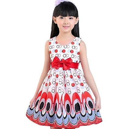 8d98dd6c Vicbovo Little Girls Sleeveless Dress Peacock Tail Dot Party Princess Dress  Kids