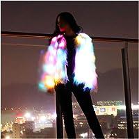 SHINYOU Girls Women Faux Fur Coat Adult LED Light Up Jacket Chirstmas Costume Gift Winter Coat