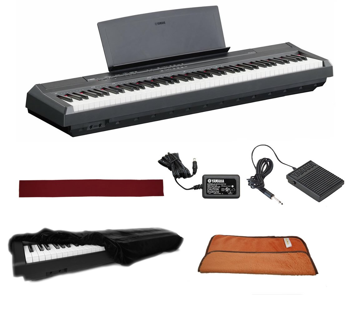 Yamaha P115B Black 88 Weighted Keys Digital Piano keyboard Bundle with Juliet Music Piano Dust Cover, Key Cover, Polish Cloth and Manuscript Book