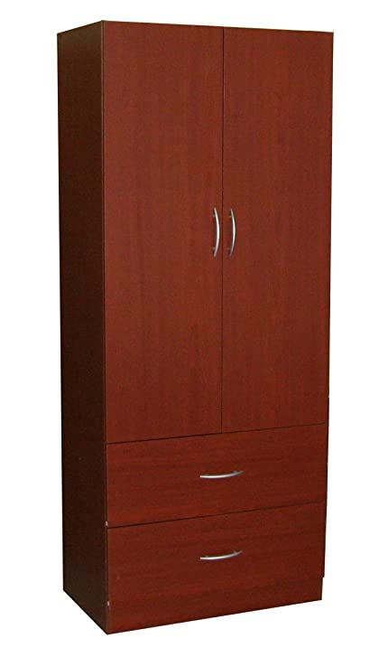 Home Source Industries RL12203 Wardrobe With 2 Door And 2 Drawer, Mahogany