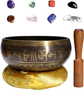 Joyeee 4.9'' Tibetan Singing Bowl Set with Chakra Stones, Buddhist Sound Bowl Himalayas Meditation Bowl for Holistic Healing, Zen, Yoga, Deep Relaxation, Sound Therapy and Mindfulness #6