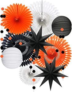 ADLKGG Orange White Black Halloween Decorations, Hanging Tissue Paper Fans Circle Garland Paper Lanterns for Graduation Wedding Anniversary Birthday Backdrop Decor