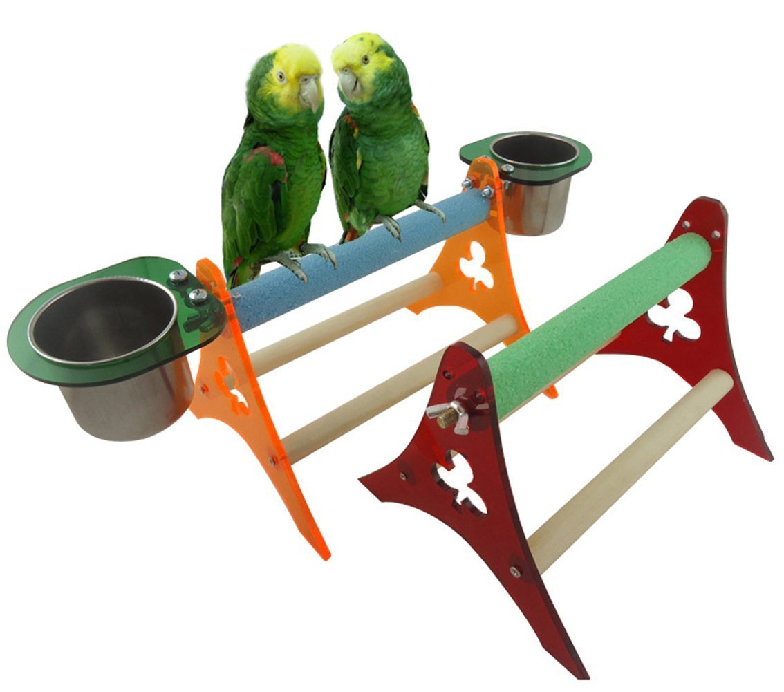 Acrylic Parrot Cage Stands Birds Table Frame Feeder Training Tripod Hamster Squirrel Cage Stands with Stainless Steel Food Containers Peety