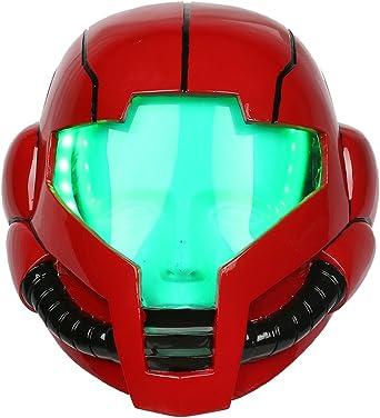 Samus Aran Helmet Game Metroid Mask LED Halloween Cosplay Deluxe Resin Mask Prop