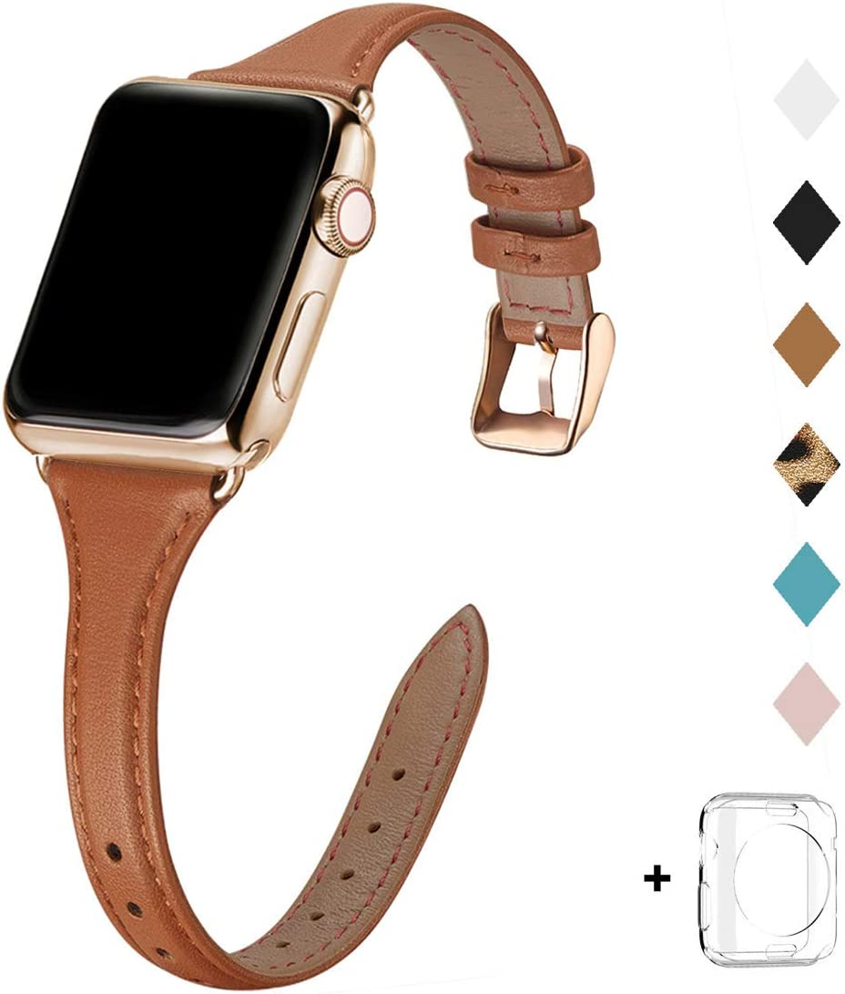 Bestig Leather Band Compatible for Apple Watch 38mm 40mm 42mm 44mm, Slim Thin Genuine Leather Replacement Strap for iWatch Series 6 SE 5 4 3 2 1 (Brown Band+StainlessGold Adapter, 38mm 40mm)