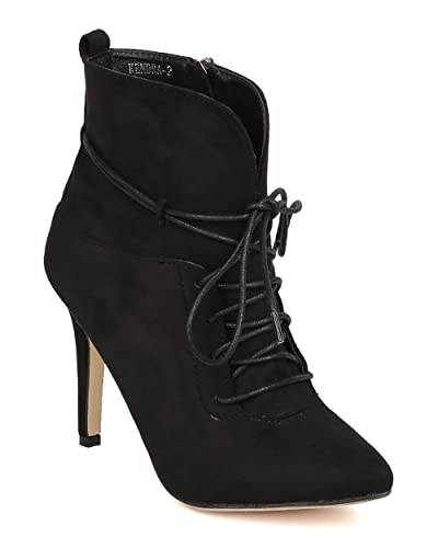 335467824b3d Women Faux Suede Lace Up Stiletto Bootie FE16 - Black (Size  9.0)