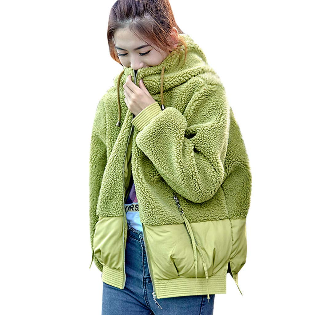 Fashionhe Women Outwear Lamb Hair Coat Hooded Patchwork Embroidery Coat Plush Jacket Overcoat(Green.XL) by Fashionhe