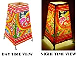 DollsofIndia Leather Perforated Stand Colorful Lamp Shade - 9 x 5 x 5 inches (NF21)