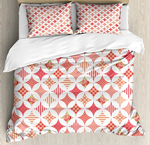 Lunarable Country King Size Duvet Cover Set, Intertwined Cir