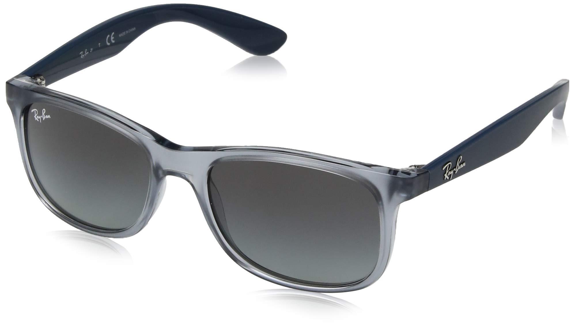 RAY-BAN JUNIOR Kids' RJ9062S Rectangular Kids Sunglasses, Transparent Blue/Grey Gradient, 48 mm by RAY-BAN JUNIOR