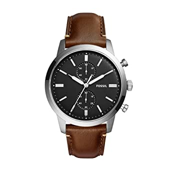 e0217a5afea9 Fossil Men s Townsman Quartz Stainless Steel and Leather Chronograph Watch  Color  Silver Brown (Model