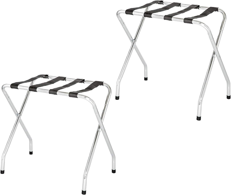 Folding Collapsible Travel Luggage Rack with Black Nylon Straps (Double-2, Chrome)