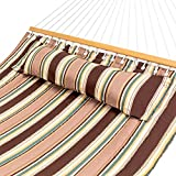 Best Choice Products Quilted Double Hammock w/Detachable Pillow, Spreader Bar - Tan Stripe