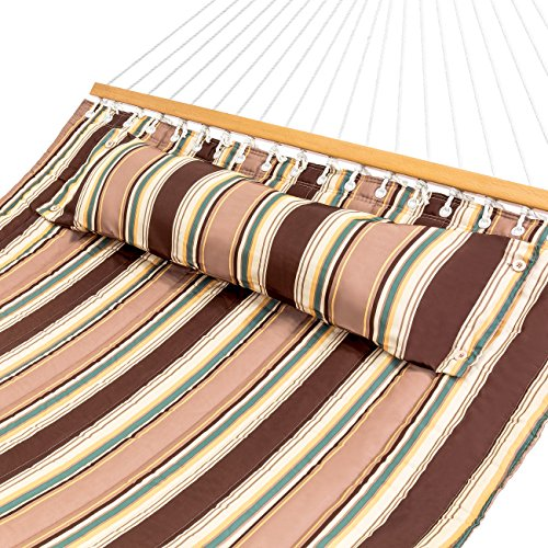 Best Choice Products Quilted Double Hammock w/Detachable Pillow, Spreader Bar - Tan - Multi Stripe Tan