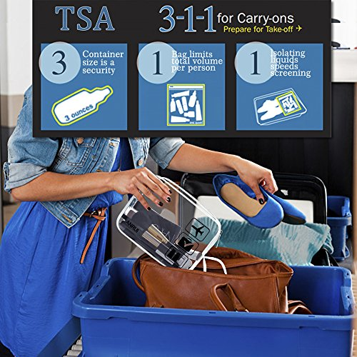 3pcs TSA-Approved Clear Travel Toiletry Bag With Handle Strap, ANRUI Airline Kit 3-1-1 Clear Liquids Toiletries & Cosmetics Organizer Carry-On Luggage for Women and Men (Clear)
