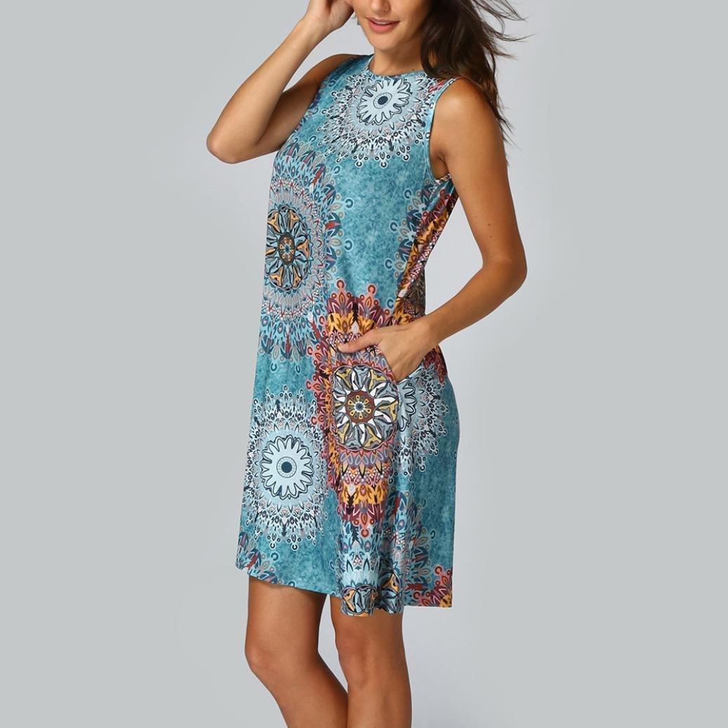 Ba Zha Hei de Vestido Estampado de Manga Larga para Mujer | Vestido Mujer Verano | Mini Vestido Casual Ropa | Dress de Playa de impresión de Mujeres Vestido ...