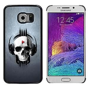 TopCaseStore / la caja del caucho duro de la cubierta de protección de la piel - Skull Beat Play - Samsung Galaxy S6 EDGE SM-G925